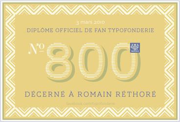 Romain Rethoré Fan no 800 diploma