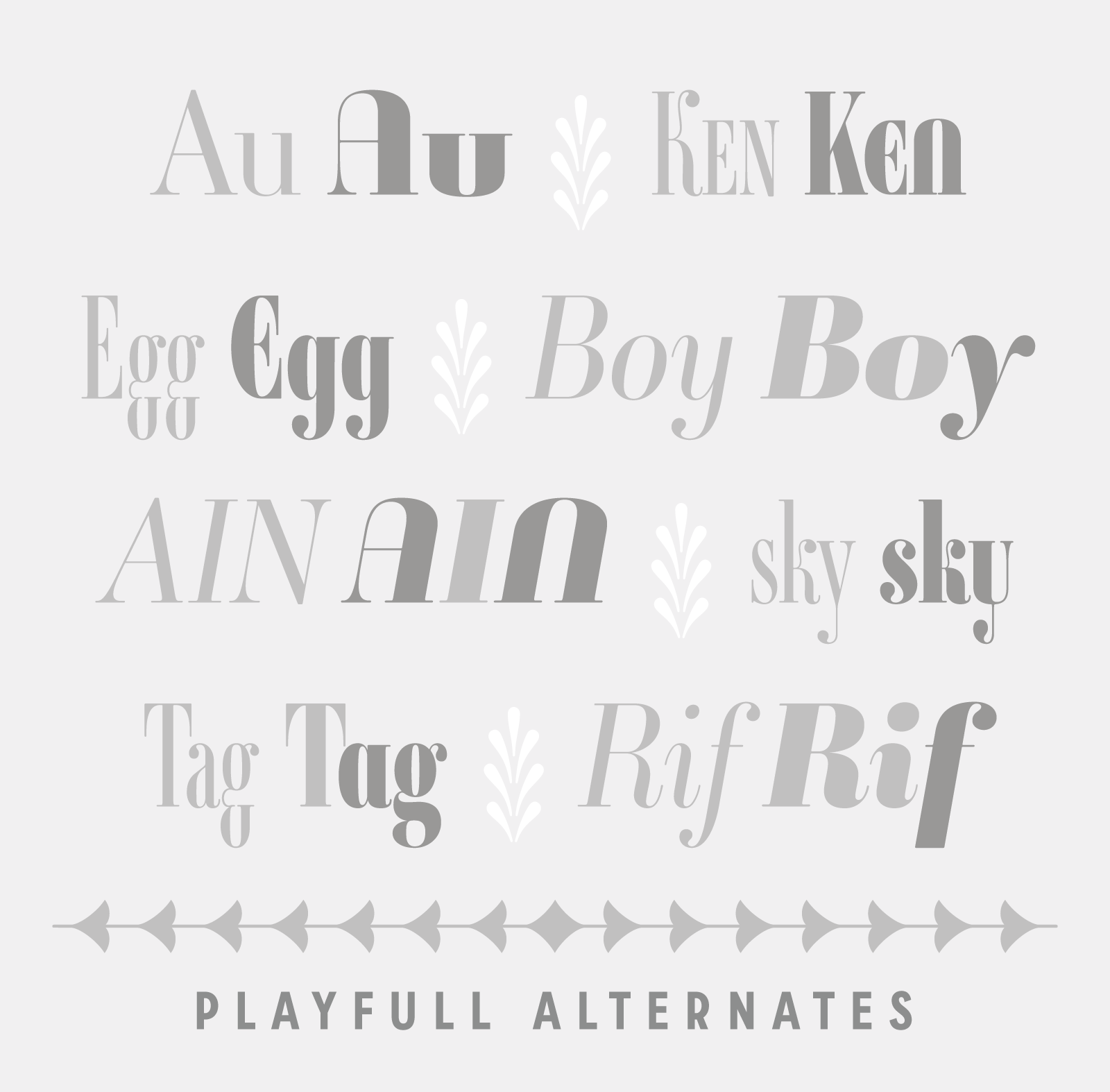 Ambroise, an exquisite Didot font featuring great alternates