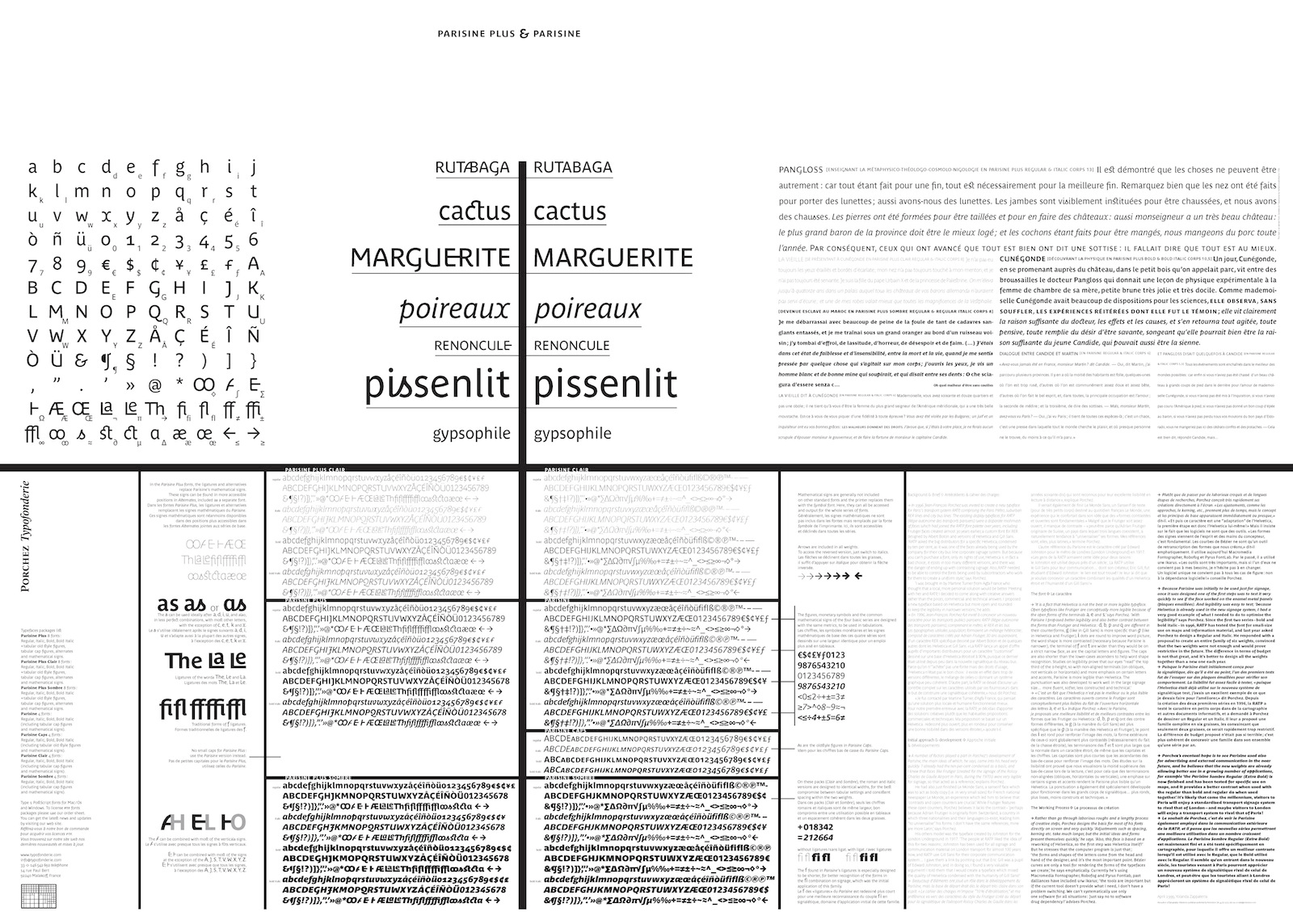 Parisine specimen designed by Muriel Paris
