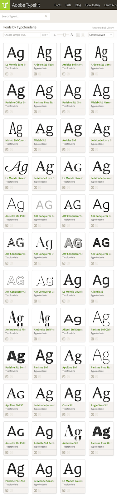 Typofonderie fonts available at Typekit