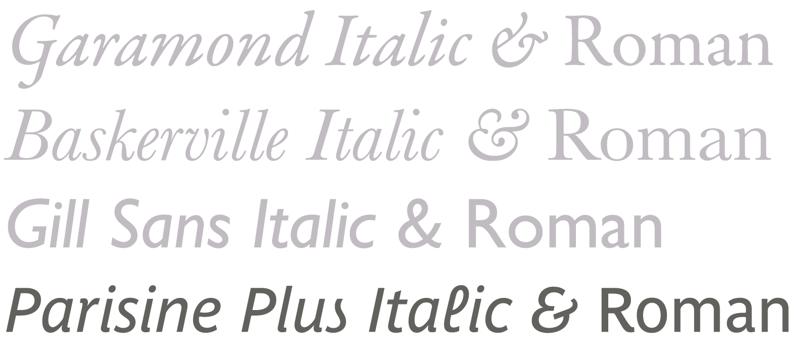 Garamond, Baskerville and Gill Sans