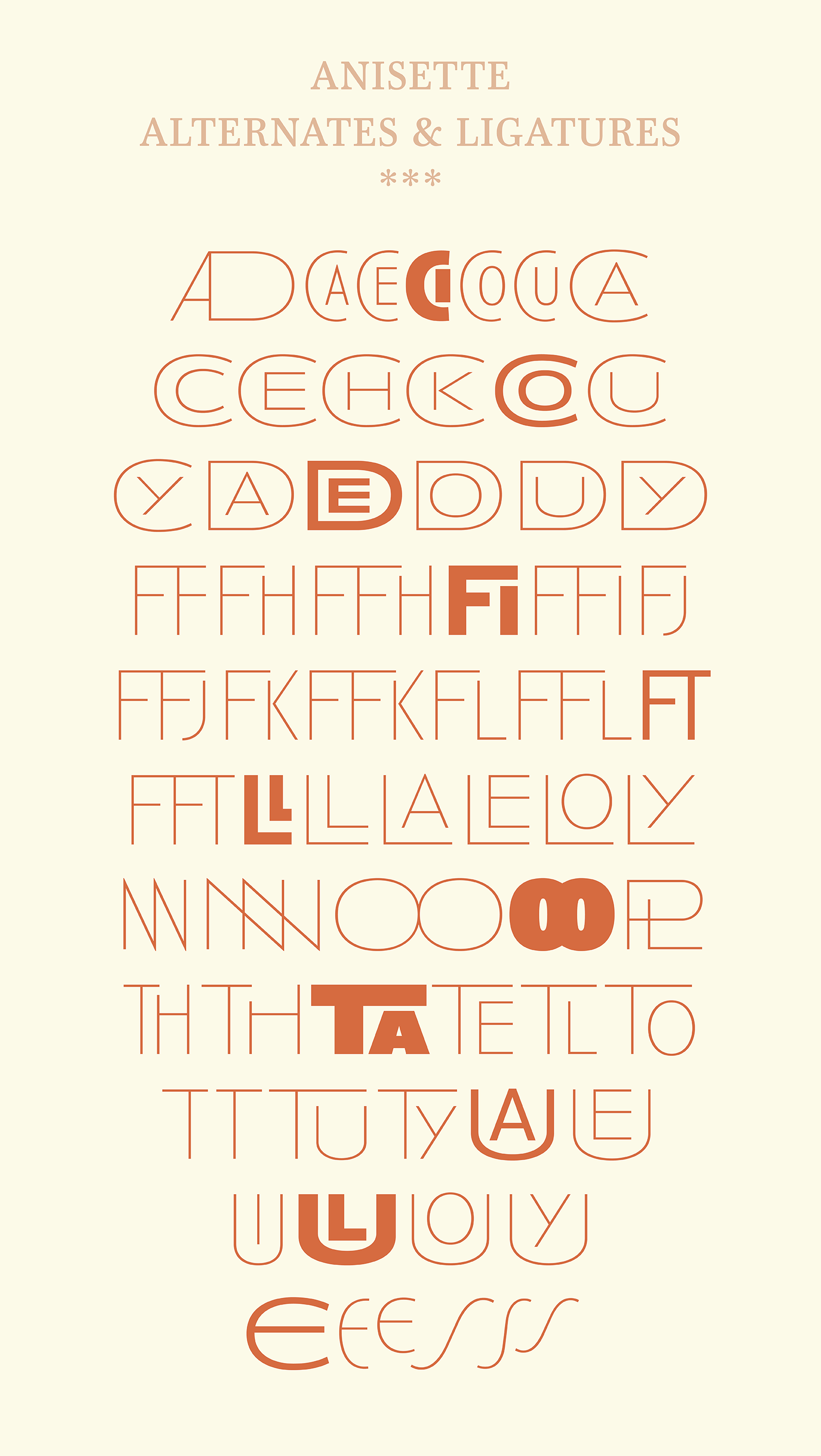 Anisette Pro, easy use of various styles and automatic OpenType features