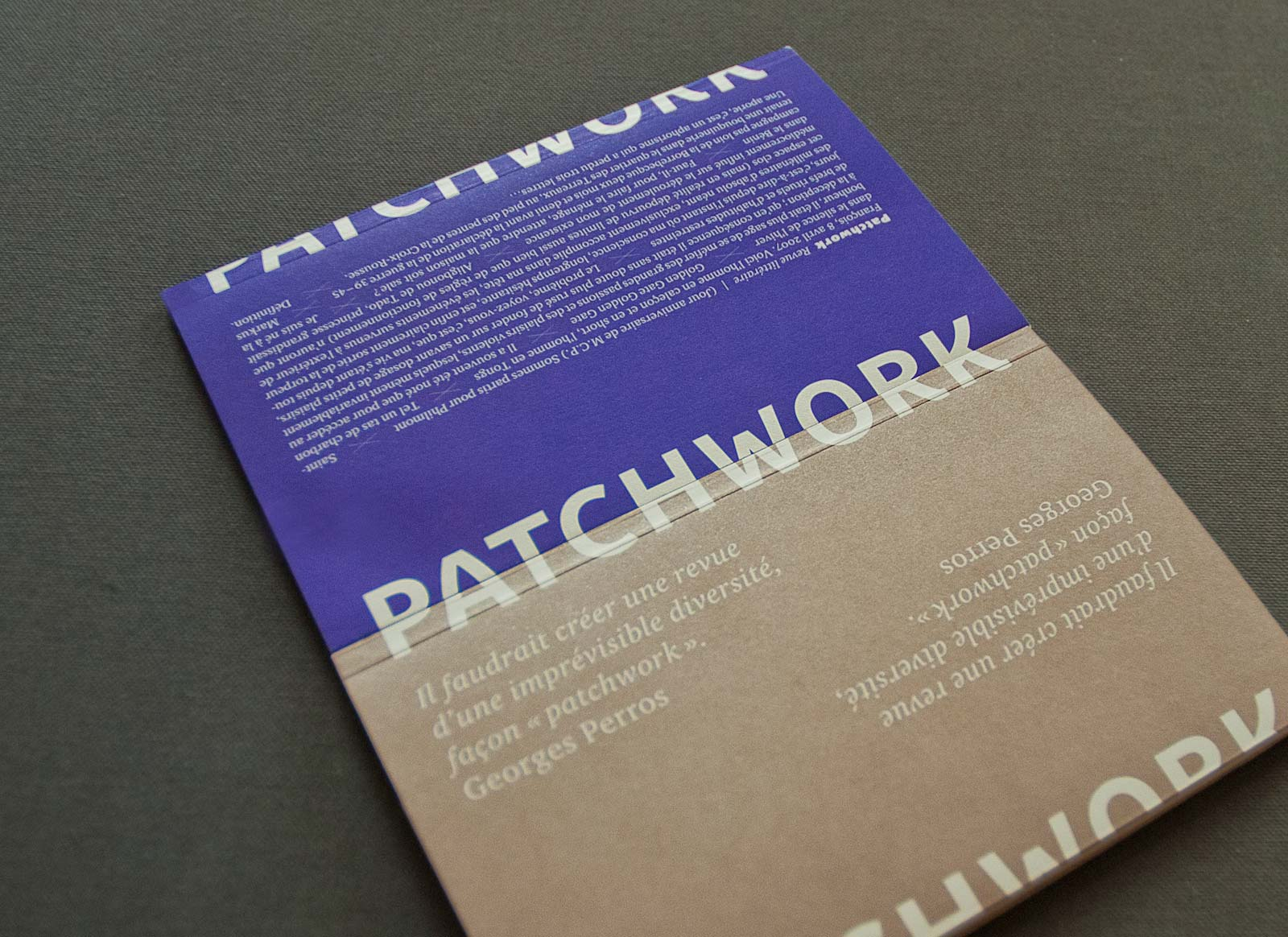 Patchwork, a literary review set in Parisine Plus by Sébastien Lordez