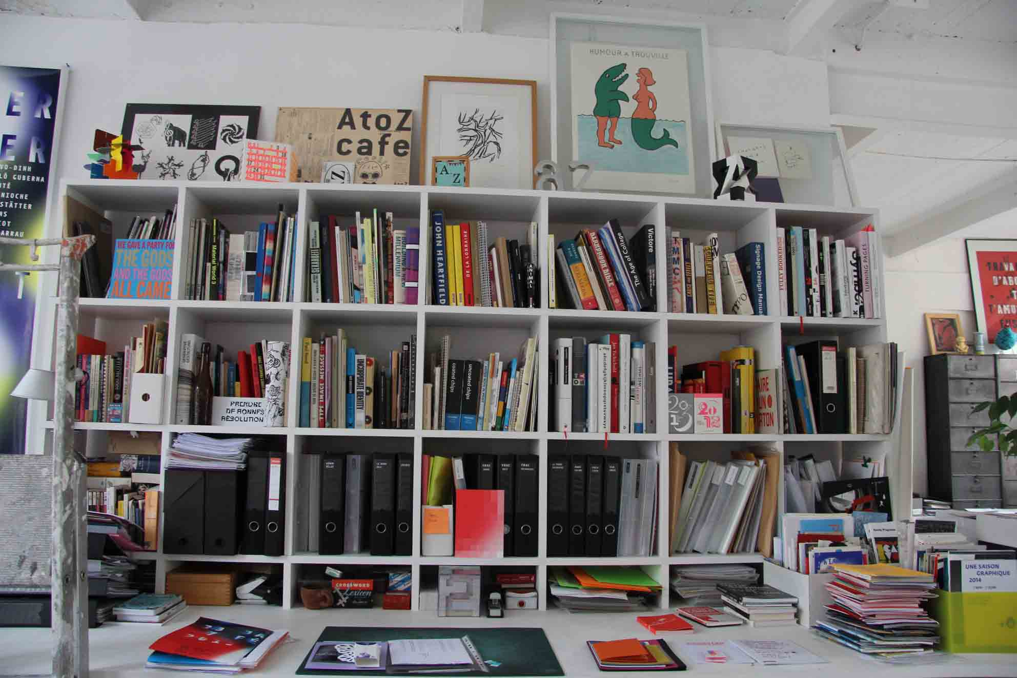 Anette Lenz bookshelf on her studio