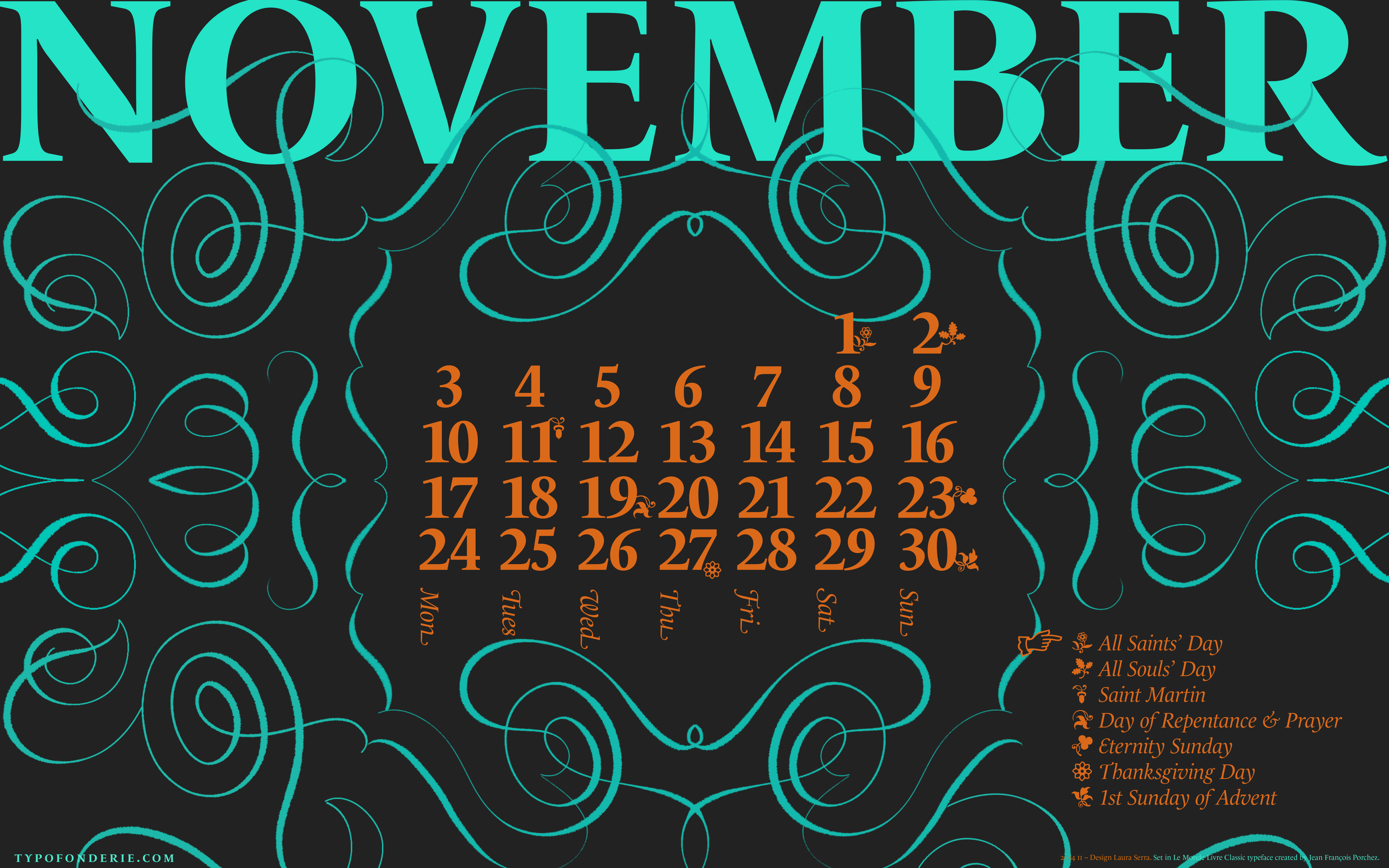 A Wallpaper Calendar November 2014 Featuring Le Monde Livre